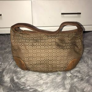 Coach Tan And Brown Satchel Purse